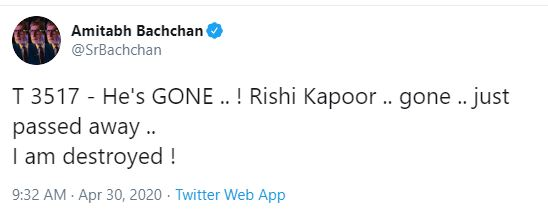 Amitabh Bachchan's twitter message about Rishi Kapoor's death
