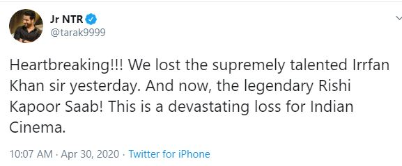 Jr NTR's twitter message about Rishi Kapoor's death