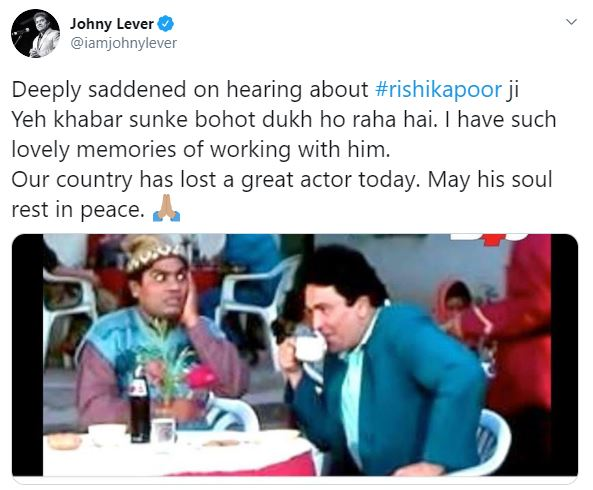 Johny Lever's twitter message about Rishi Kapoor's death