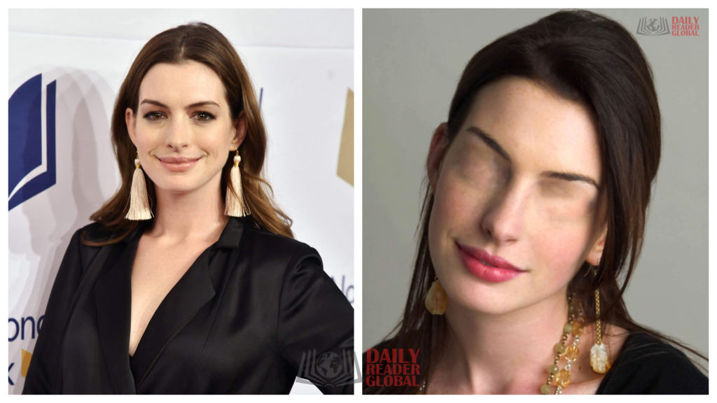 Anne Hathaway without eyes